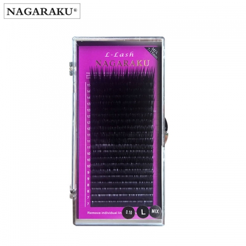 NAGARAKU L curl 7~15mm MIX 20rows/case mink eyelash extension,L curl individual eyelashes,L lashes,L false eyelashes.