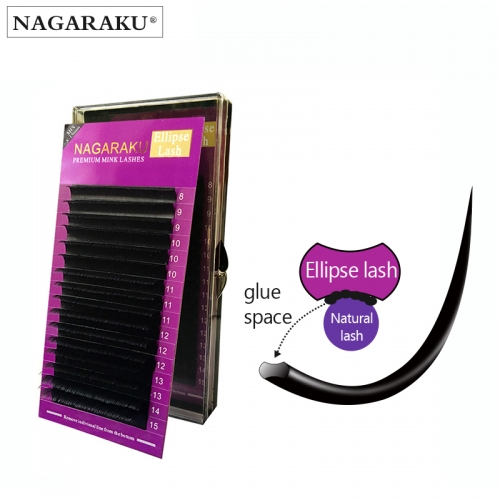 NAGARAKU mix 8~15mm in one case Ellipse Flat False Eyelash Extension flat mink cilia eyelashes Faux Mink Ellipse eyelashes Matte
