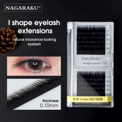 NAGARAKU New I Shape Baby Straight Eyelash Extensions Makeup Tools Individual Premium Faux Mink False Eyelash Male Lashes