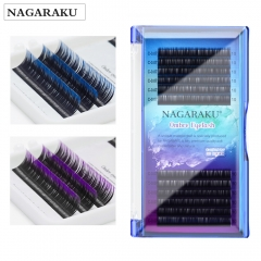 NAGARAKU Ombre Color Purple blue Gradient color Individual eyelashes 0.07C eyelash extensions Premium faux soft mink 8-12mm