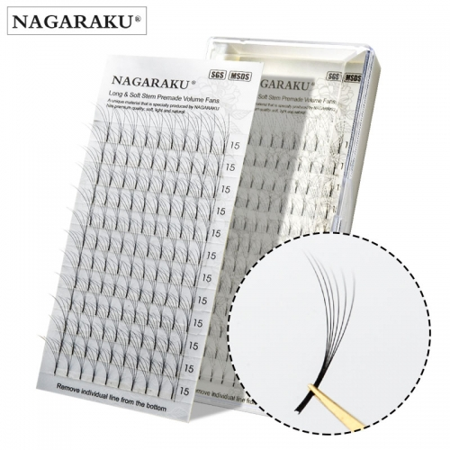NAGARAKU 12 Lines 3D-6D Premade Volume Fans Russian Volume Eyelash Black Faux Mink Premium Eyelash Application Eyelash extension