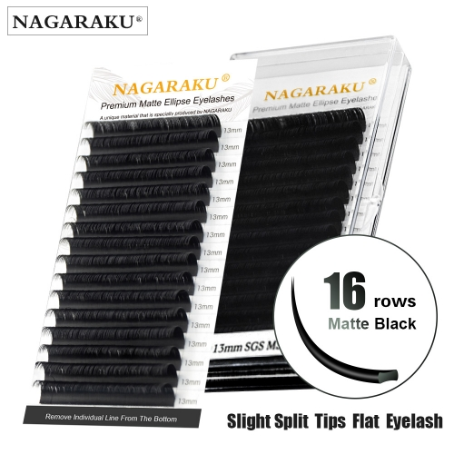 NAGARAKU Flat Ellipse Eyelashes Maquiagem Split Tips Ellipse Shaped Natural Light Magnetic Ellipse Lashes Matte Color Flat