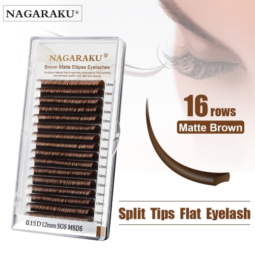 NAGARAKU 16 Lines Brown Split Tips Flat Ellipse Eyelashes Maquiagem Super Soft Natural High Quality Synthetic Mink Matte Brown
