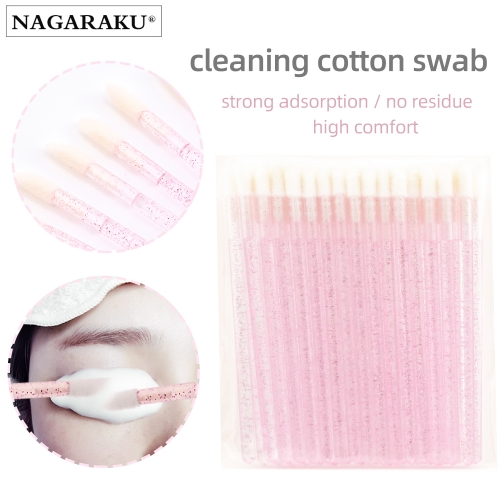 NAGARAKU 50pcs Disposable Eyelash Brush Crystal Lashes Micro Brushes Eyelash Extension Supplies Applicator Cleaner Beauty Makeup